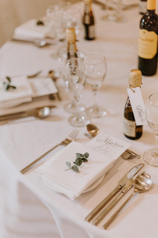 Place Setting Decor Favour Bottles Wick Farm Bath Wedding Siobhan Beales Photography