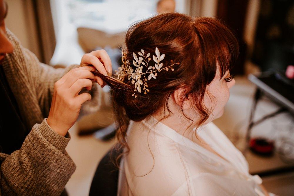 Bride Bridal Hair Style Up Do Accessory Wick Farm Bath Wedding Siobhan Beales Photography