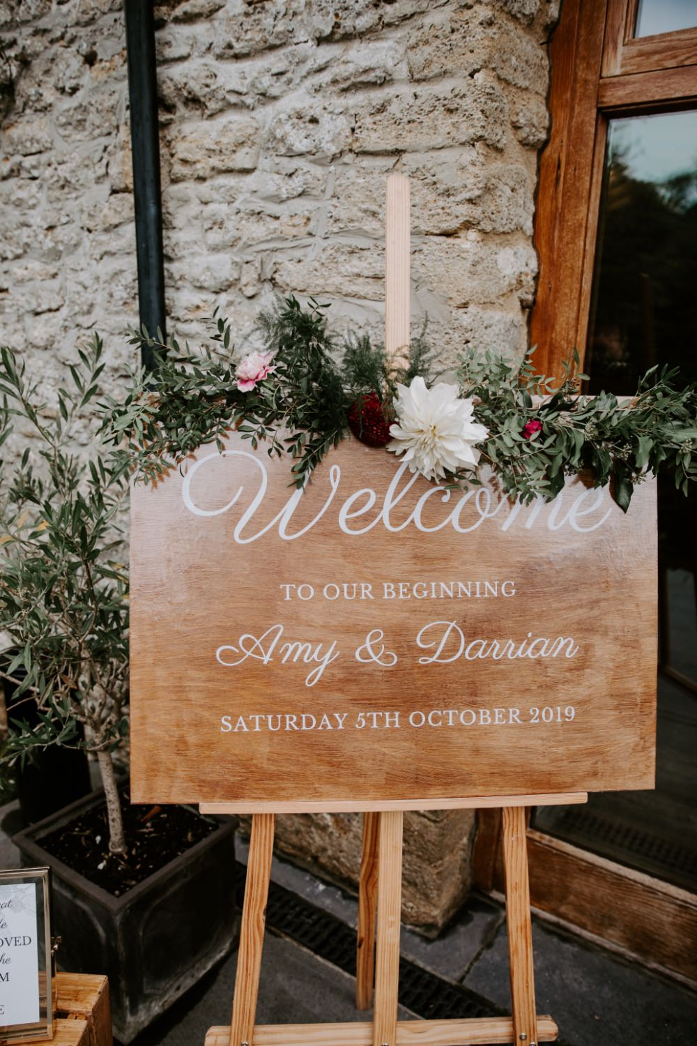 Welcome Sign Signs Signage Wooden Calligraphy Greenery Wick Farm Bath Wedding Siobhan Beales Photography