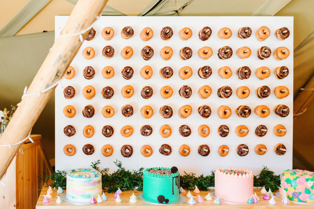 Donut Doughnut Wall Stand Cakes Yew Tree Lakes Wedding Charlotte Hu Photography