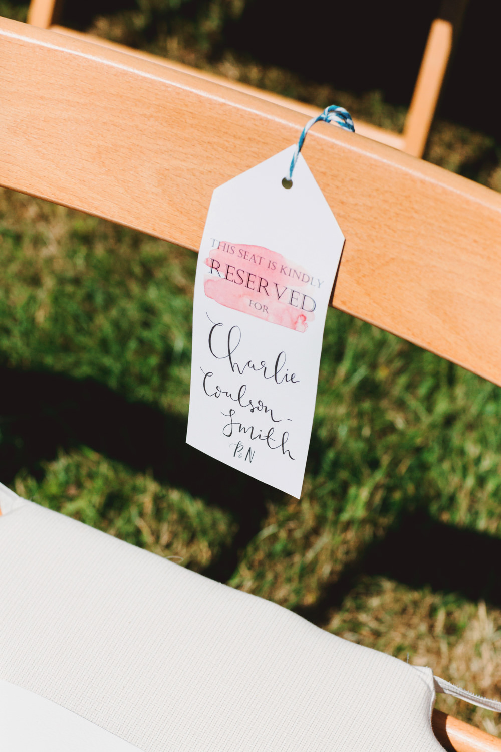Reserved Seat Tag Label Yew Tree Lakes Wedding Charlotte Hu Photography