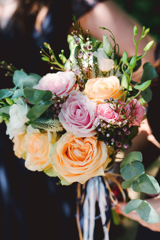 Bouquet Flowers Bride Bridal Orange Pink Rose Yew Tree Lakes Wedding Charlotte Hu Photography