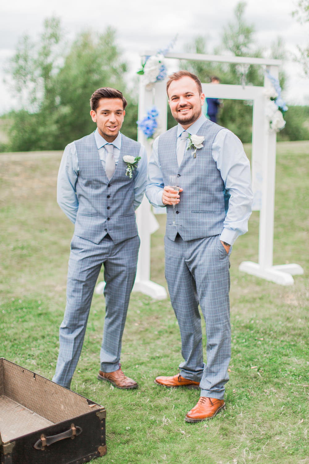 Groom Groomsmen Blue Trousers Waistcoat Tie Grey Almonry Barn Wedding Kerry Bartlett Photography