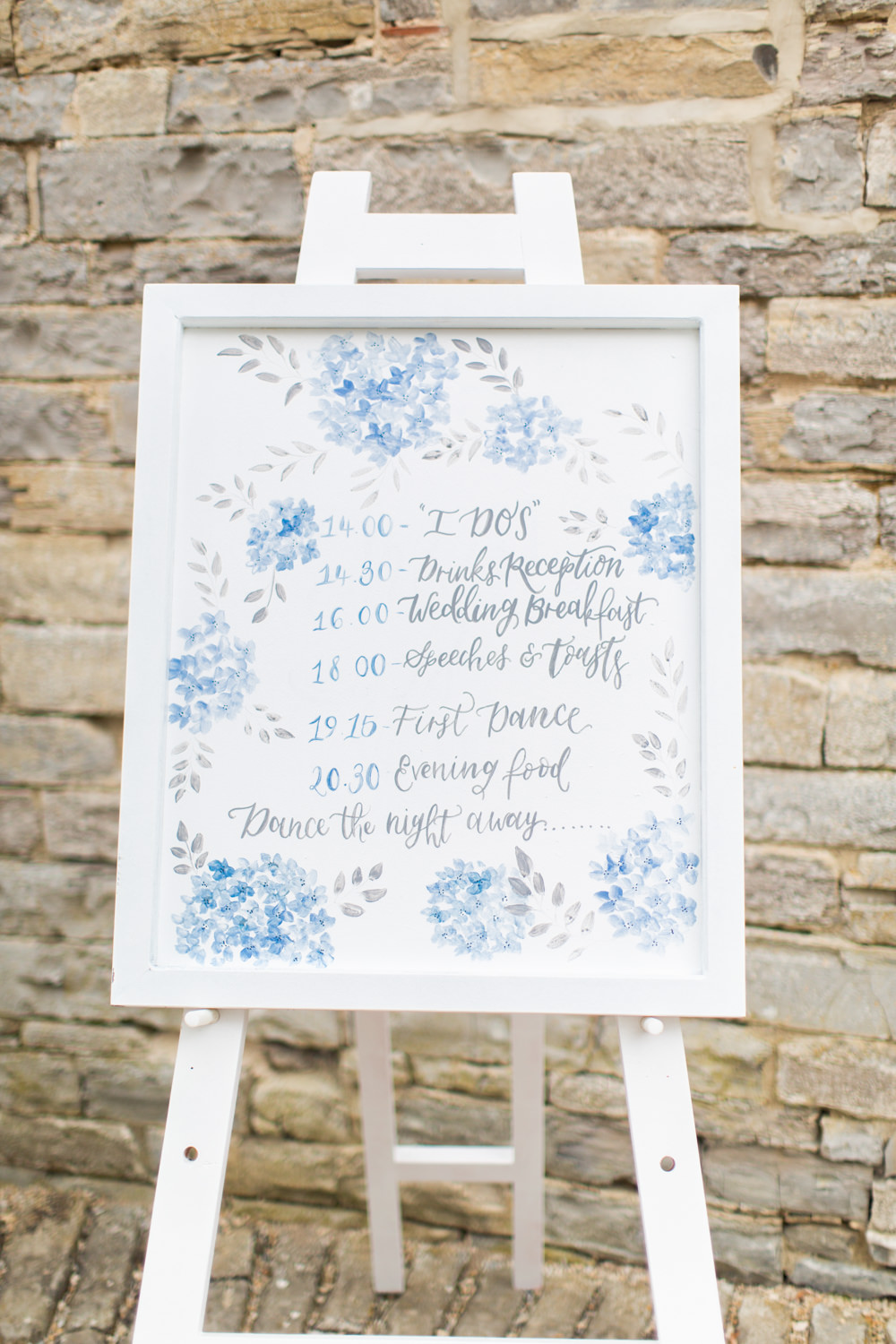 Order of the Day Sign Signs Signage Blue Floral Almonry Barn Wedding Kerry Bartlett Photography