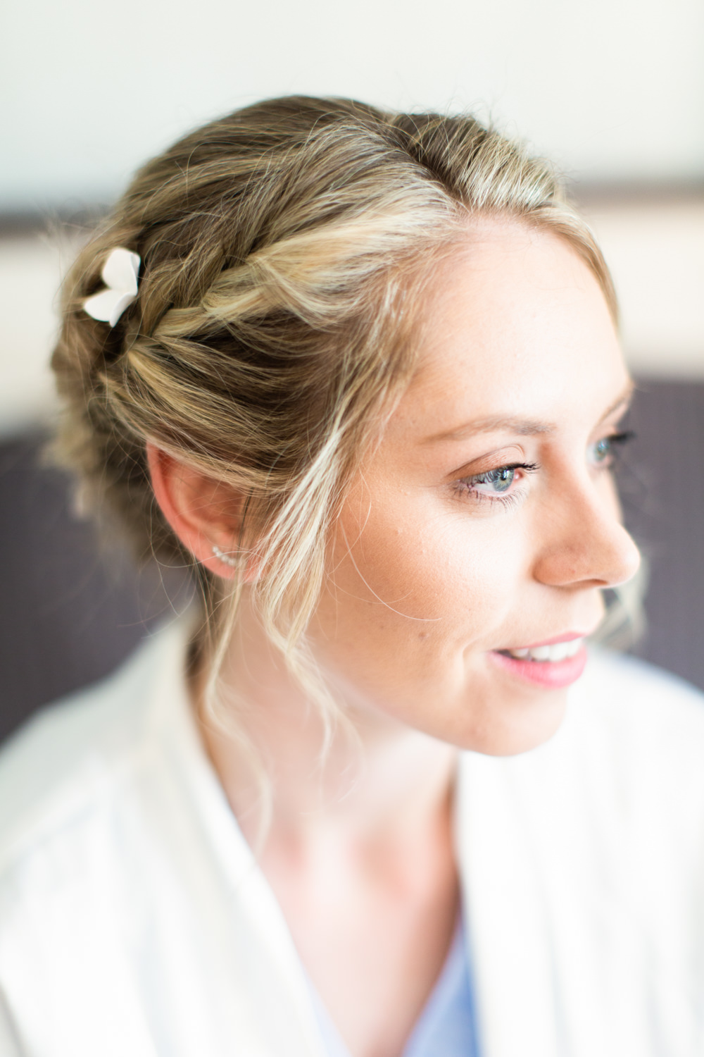 Bride Bridal Hair Style Up Do Braid Plait Almonry Barn Wedding Kerry Bartlett Photography