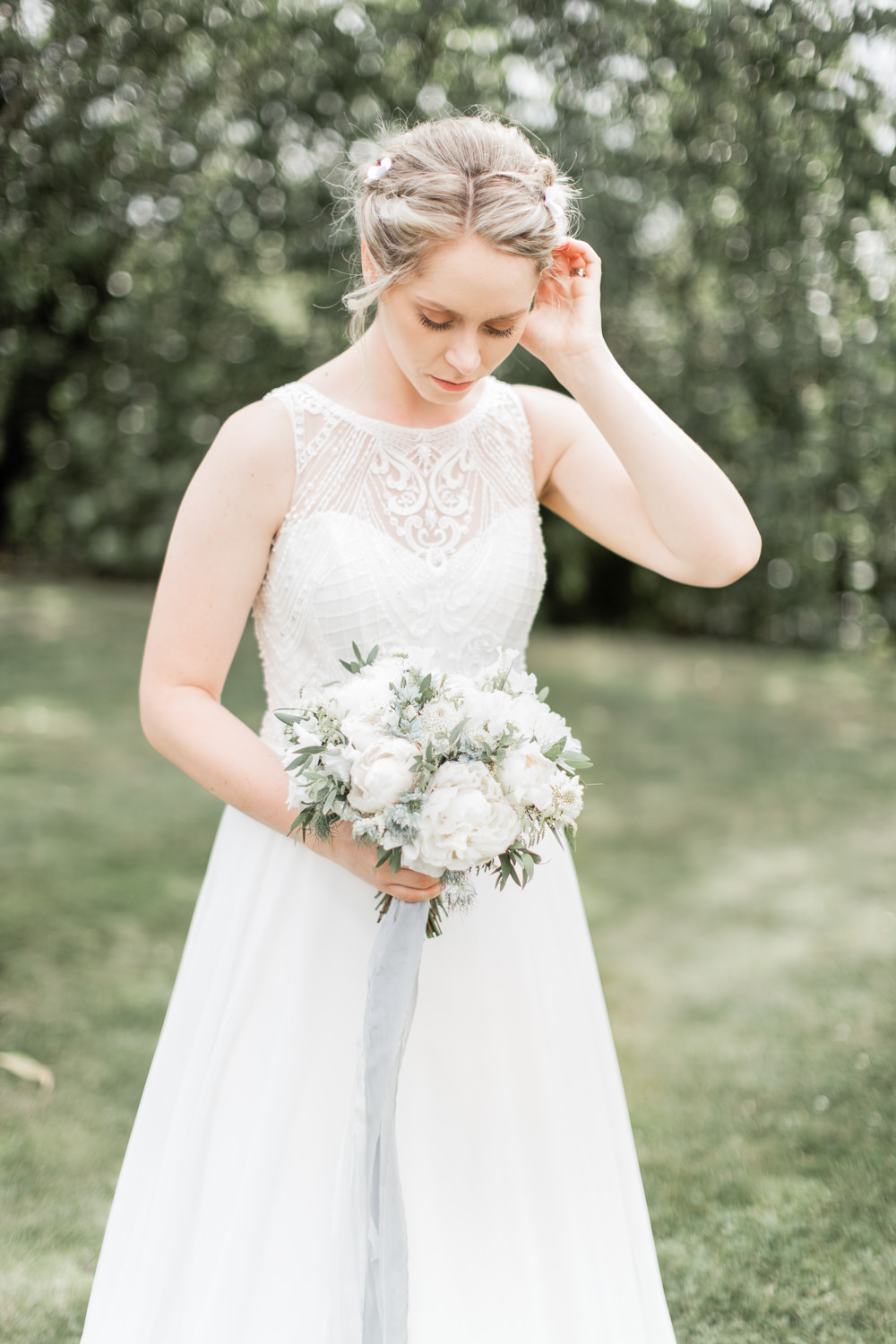 Bride Bridal Dress Gown Wtoo by Watters Beaded Sheer Back Almonry Barn Wedding Kerry Bartlett Photography
