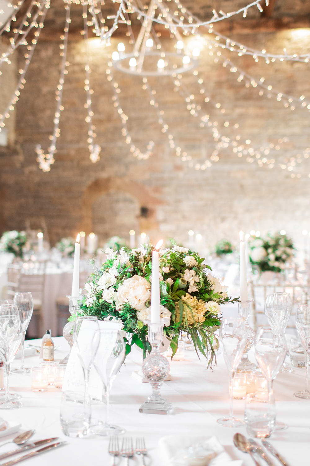 Fairy Lights Lighting Canopy Round Tables Almonry Barn Wedding Kerry Bartlett Photography