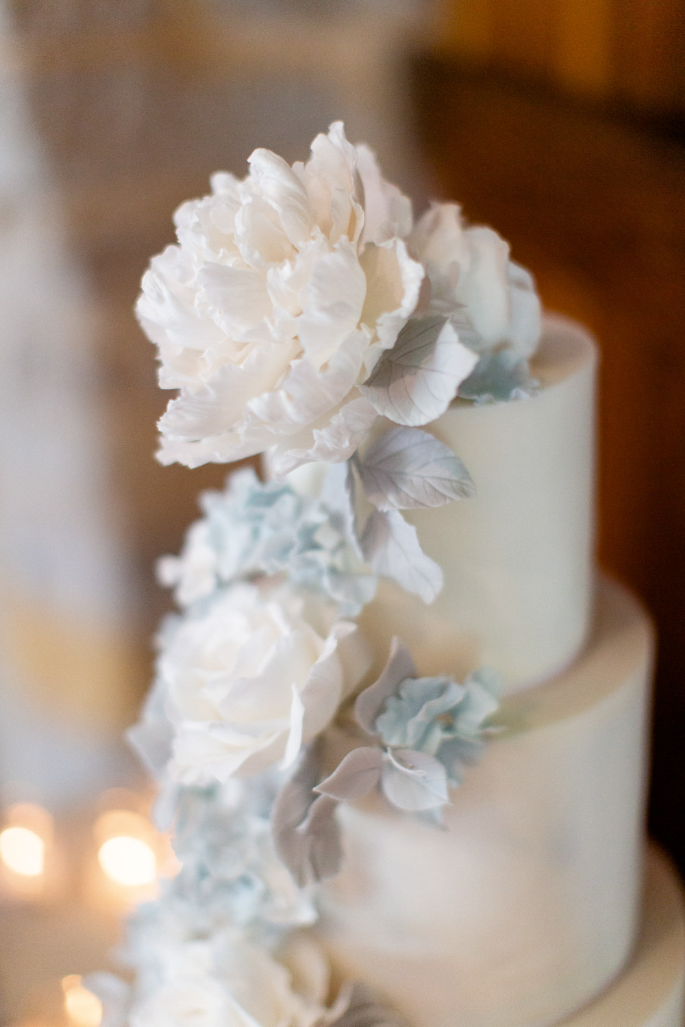 Cake Flowers White Blue Almonry Barn Wedding Kerry Bartlett Photography