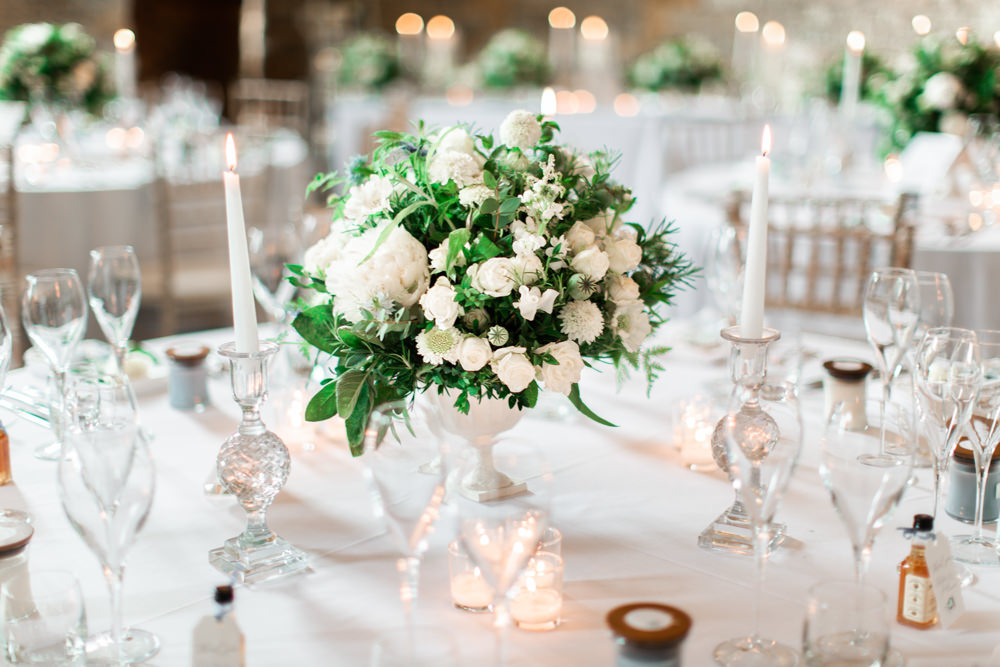 Table Centrepiece Decor Flowers Candlesticks Urn Almonry Barn Wedding Kerry Bartlett Photography
