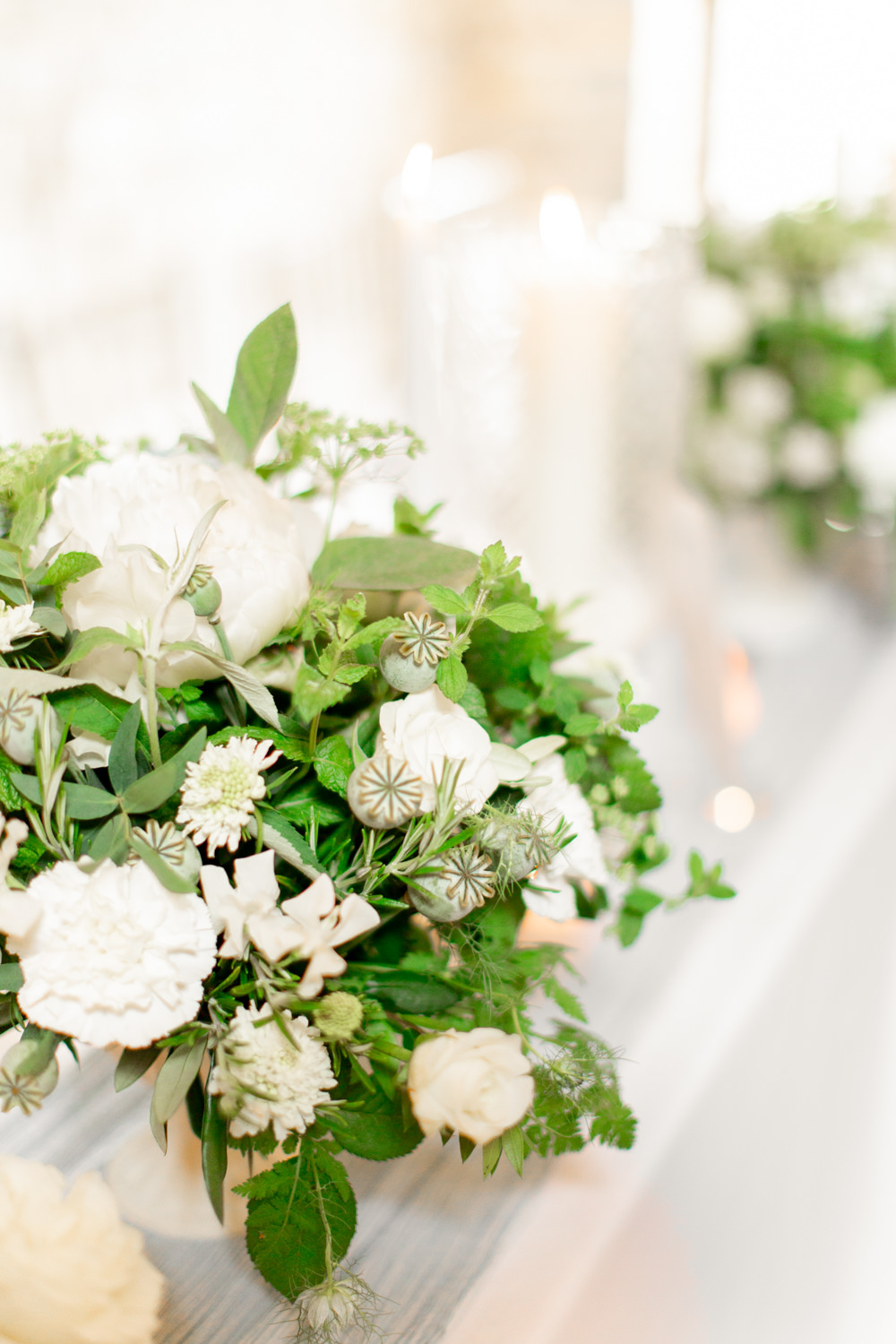 Table Flowers Centrepiece Rose Greenery Almonry Barn Wedding Kerry Bartlett Photography