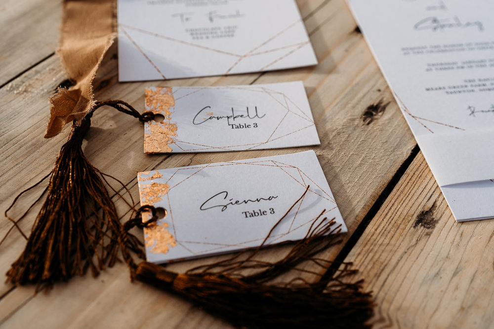 Place Name Cards Tassels Copper Balloon Wedding Ideas Leesha Williams Photography