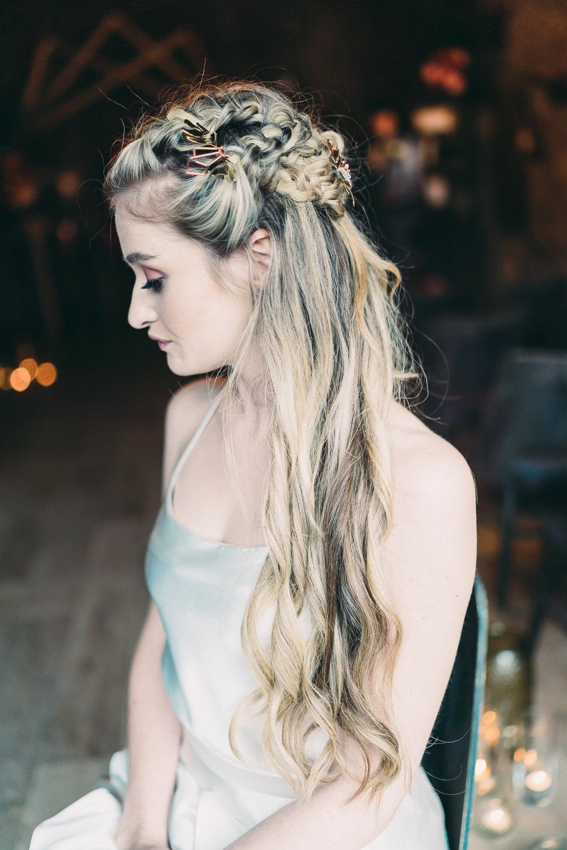 Bride Bridal Hair Style Up Do Half Up Half Down Plaits Braids Balloon Wedding Ideas Leesha Williams Photography