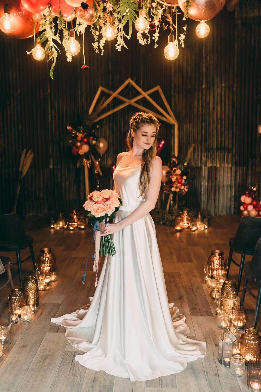 Dress Gown Bride Bridal Silk Crepe Marie Chandler Bridal Balloon Wedding Ideas Leesha Williams Photography