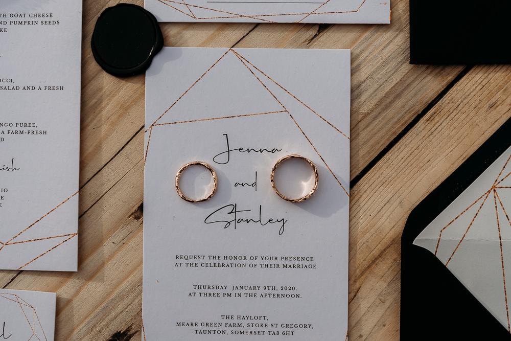 Modern Copper Stationery Invite Invitation Balloon Wedding Ideas Leesha Williams Photography