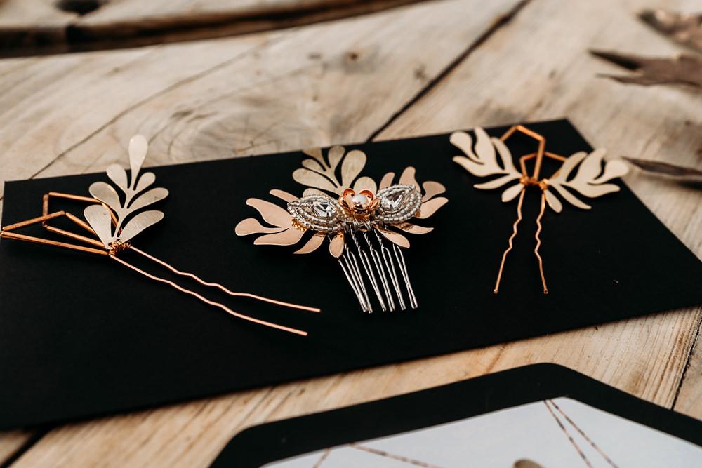 Copper Bridal Comb Accessories Bride Hair Pin Balloon Wedding Ideas Leesha Williams Photography