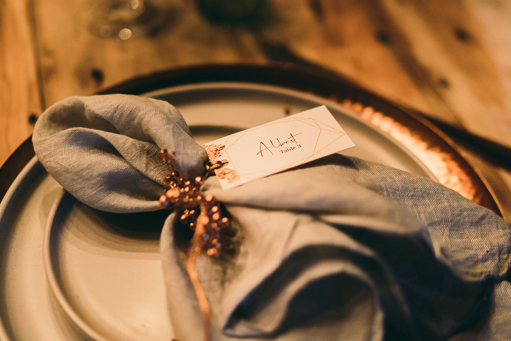 Place Name Cards Tassels Copper Napkin Place Setting Balloon Wedding Ideas Leesha Williams Photography