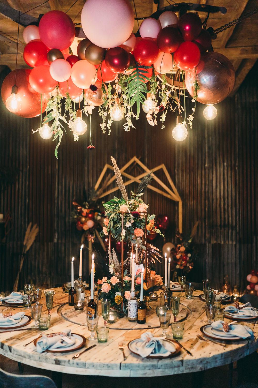 Table Tablescape Decor Decoration Flowers Candles Installation Hanging Suspended Edison Light Bulbs Lighting Balloon Wedding Ideas Leesha Williams Photography