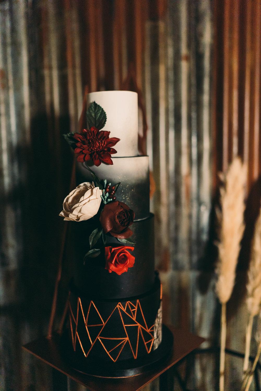 Geometric Copper Black Cake Flowers Floral Balloon Wedding Ideas Leesha Williams Photography