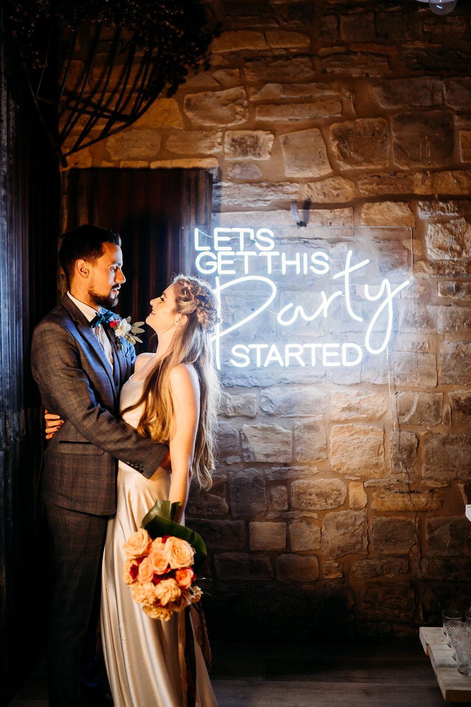 Neon Light Sign Signs Backdrop Balloon Wedding Ideas Leesha Williams Photography