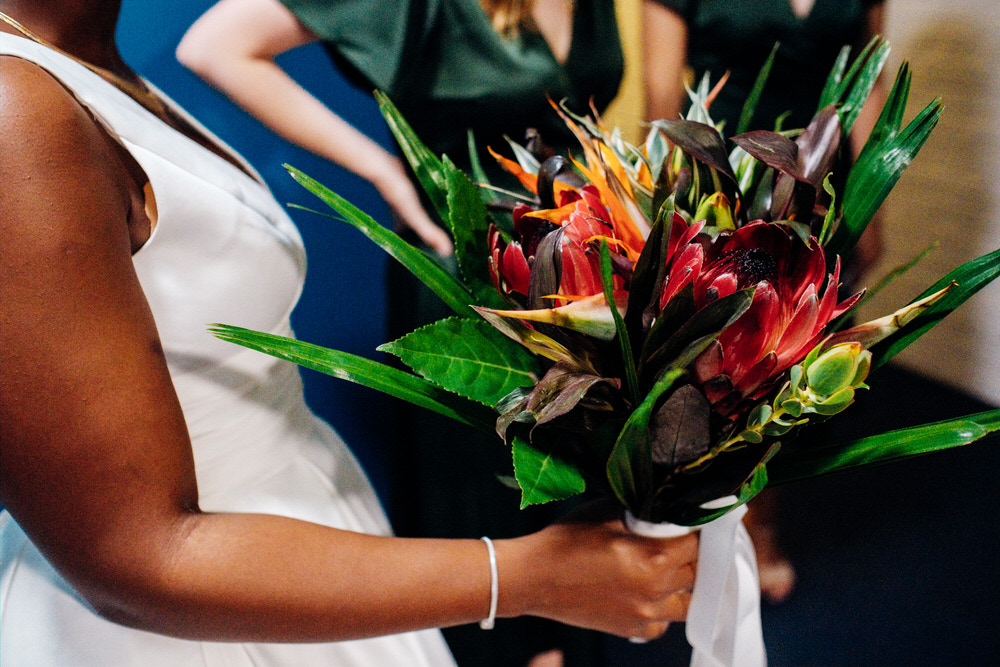 Bouquet Flowers Bride Bridal Protea Leaves Chainstore Wedding Marianne Chua Photography
