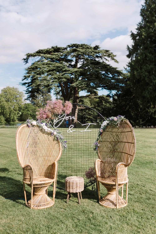 Peacock Chairs Neon Sign Backdrop Pink Gyp Gypsophila Compton Verney Wedding Danielle Smith Photography