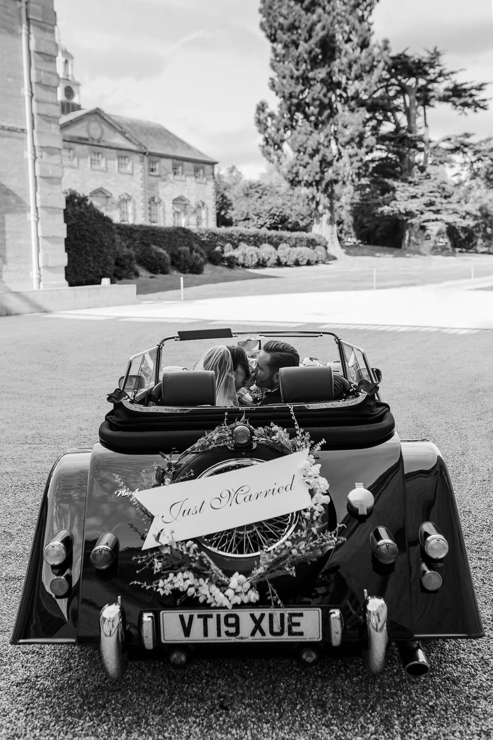 Classic Car Transport Just Married Sign Compton Verney Wedding Danielle Smith Photography