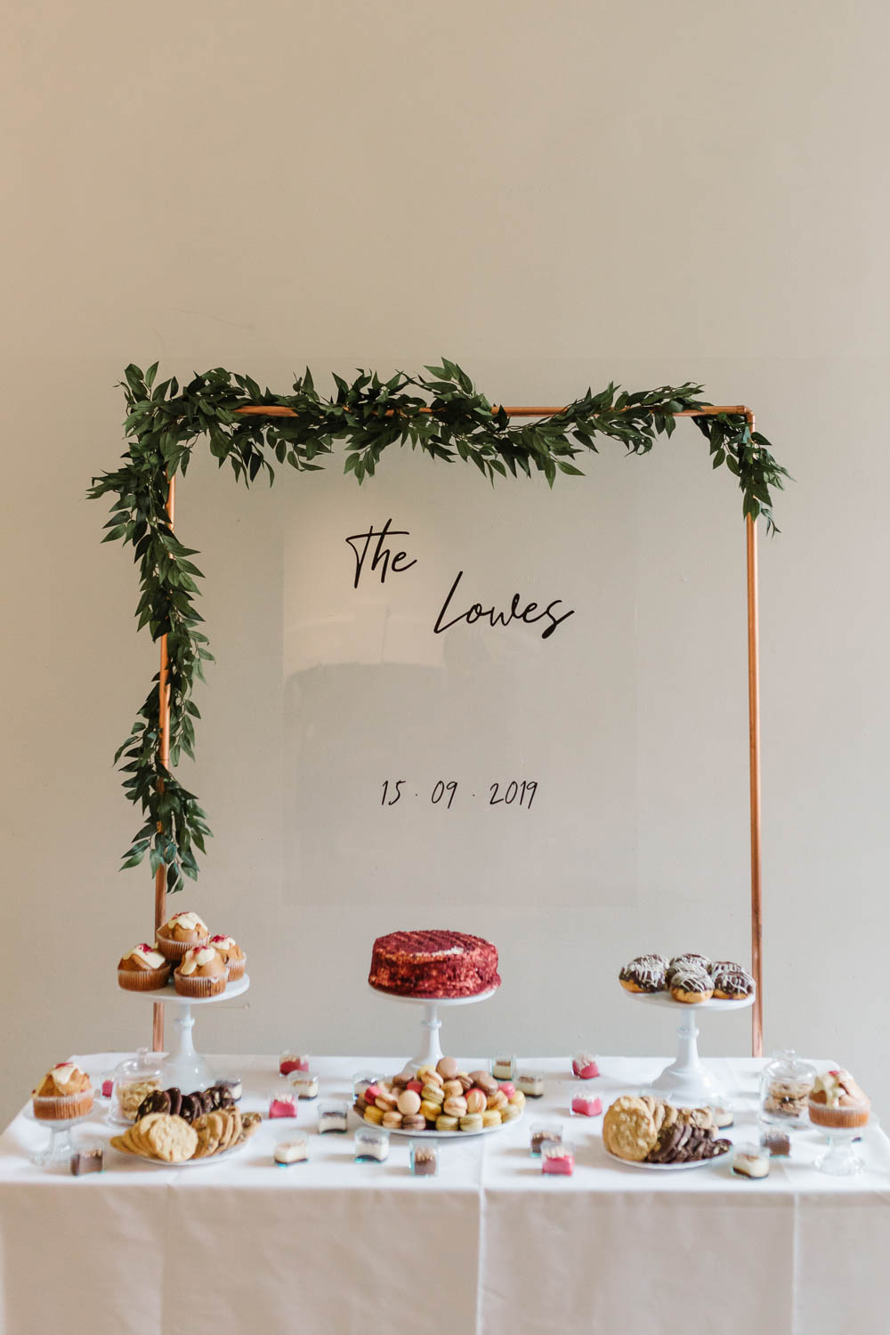 Cake Table Dessert Backdrop Sign Signs Signage Perspex Acrylic Compton Verney Wedding Danielle Smith Photography