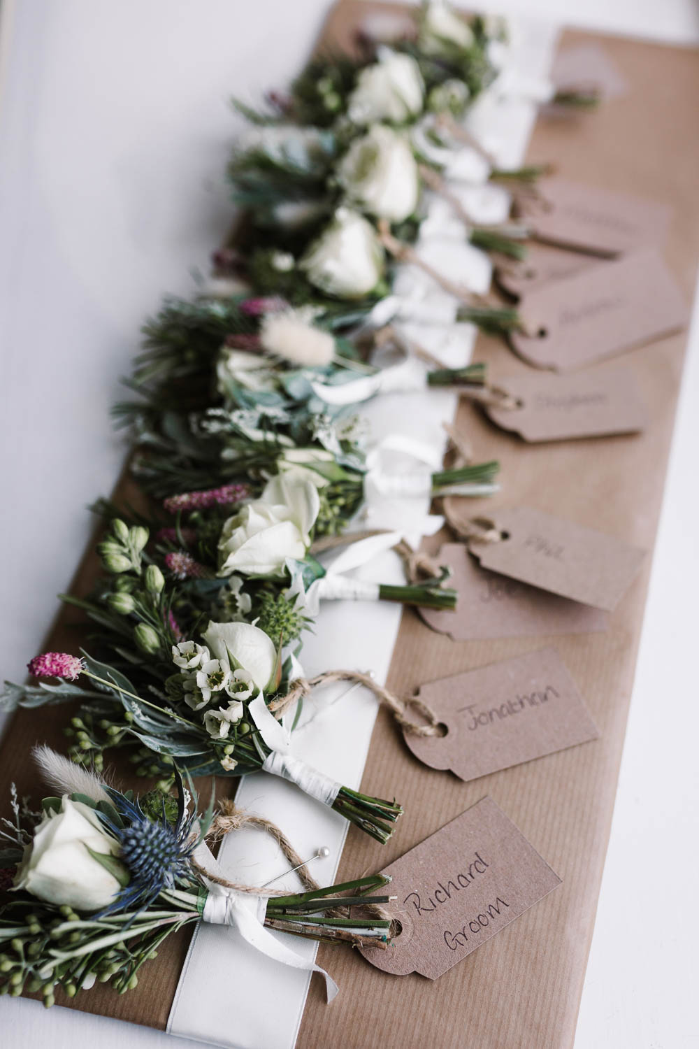 Buttonhole Flowers Rose Thistle Ivory Cream Compton Verney Wedding Danielle Smith Photography