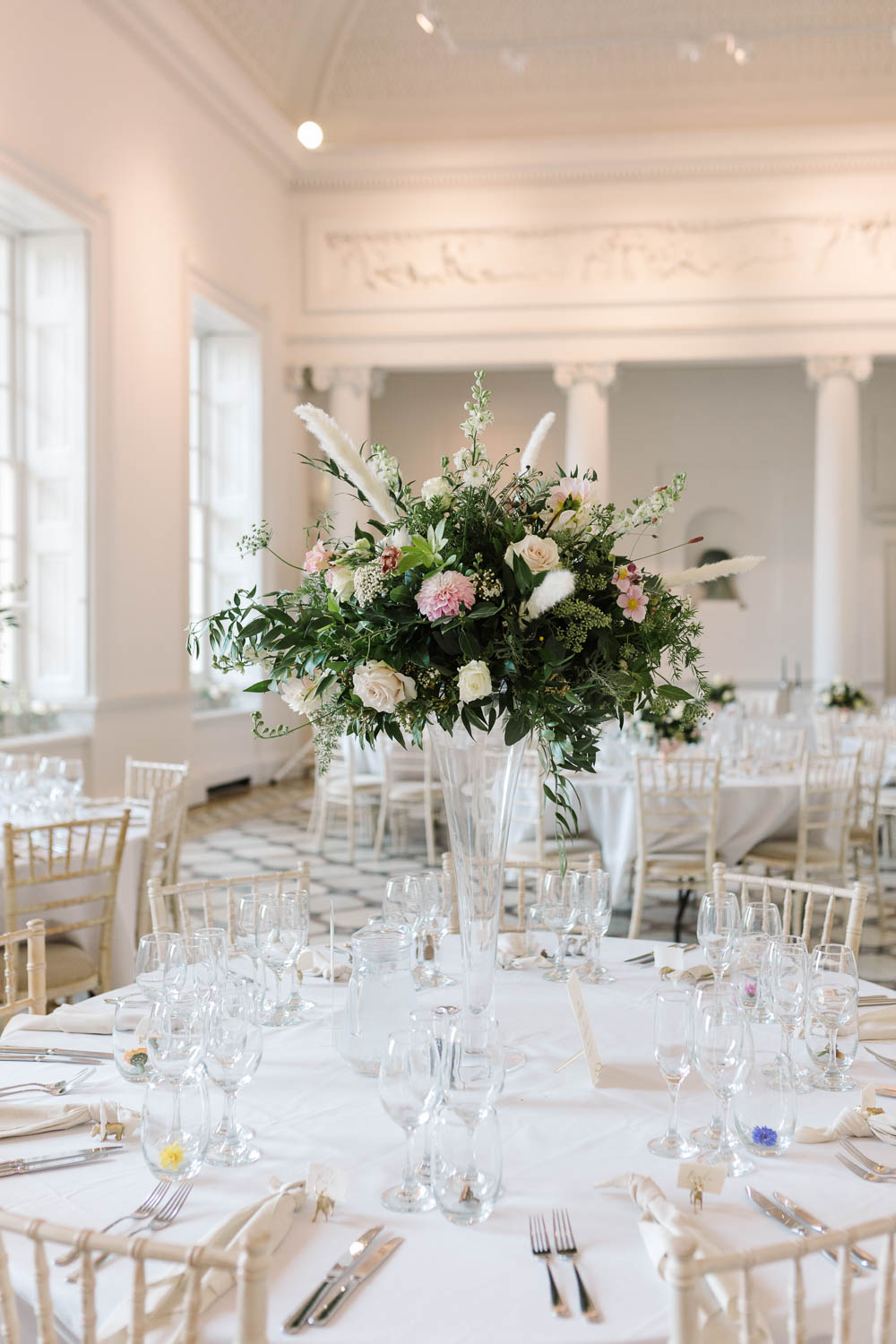 Tall Flower Arrangement Centrepiece Round Tables Compton Verney Wedding Danielle Smith Photography