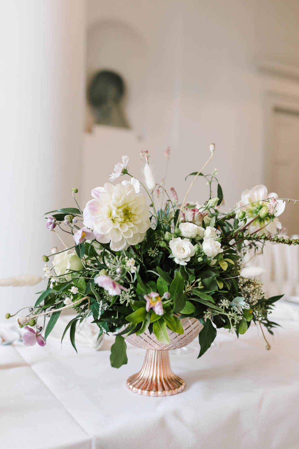 Urn Flowers Centrepiece Table Rose Gold Ivory Dahlia Rose Greenery Compton Verney Wedding Danielle Smith Photography