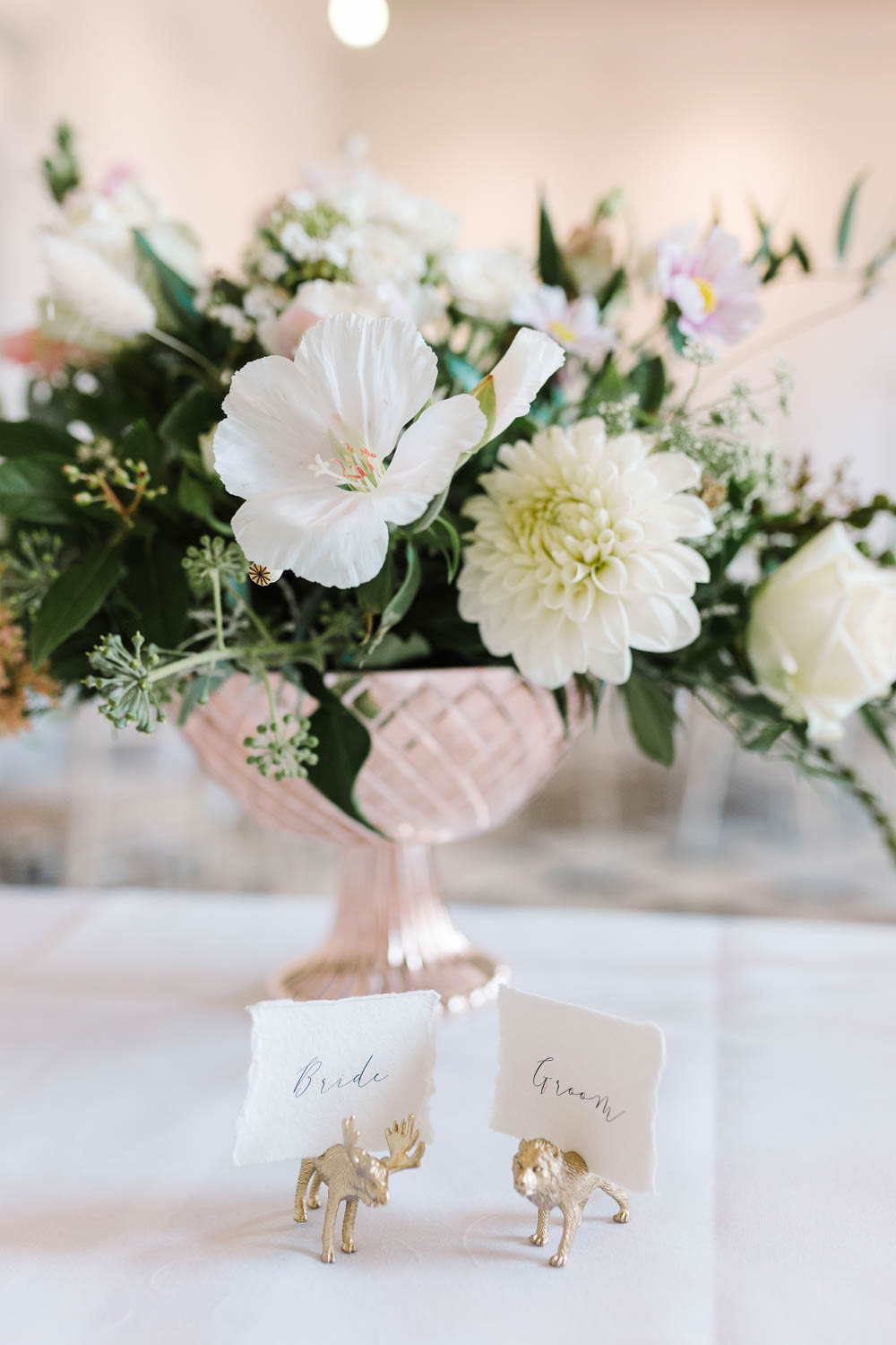 Painted Animal Place Name Cards Calligraphy Compton Verney Wedding Danielle Smith Photography