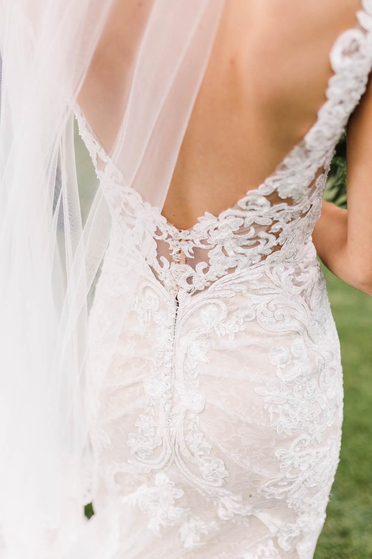 Dress Gown Bride Bridal Martina Liana Straps Plunge Neck Lace Train Veil Compton Verney Wedding Danielle Smith Photography