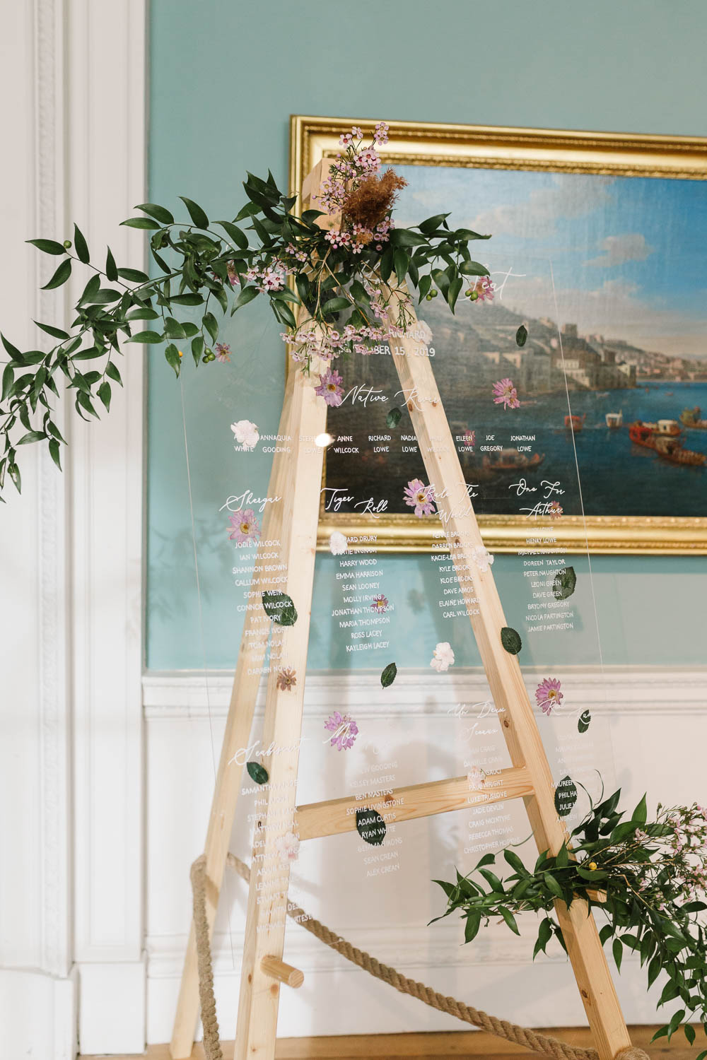 Table Plan Sign Signs Signage Perspex Acrylic Greenery Compton Verney Wedding Danielle Smith Photography