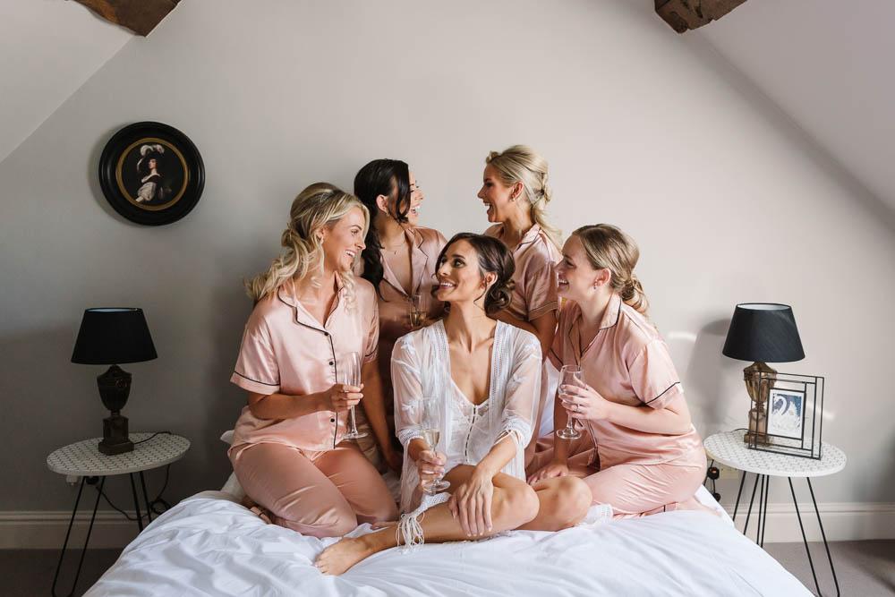 Bride Bridal Bridesmaids PJs Pyjamas Compton Verney Wedding Danielle Smith Photography