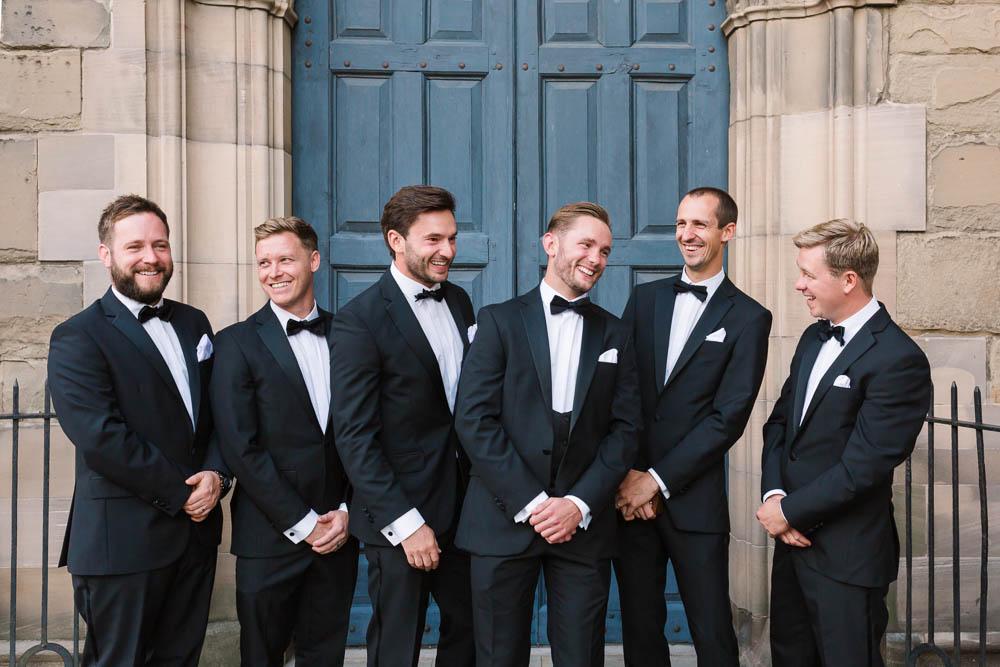 Groom Groomsmen Tux Tuexedo Suit Bow Tie Compton Verney Wedding Danielle Smith Photography