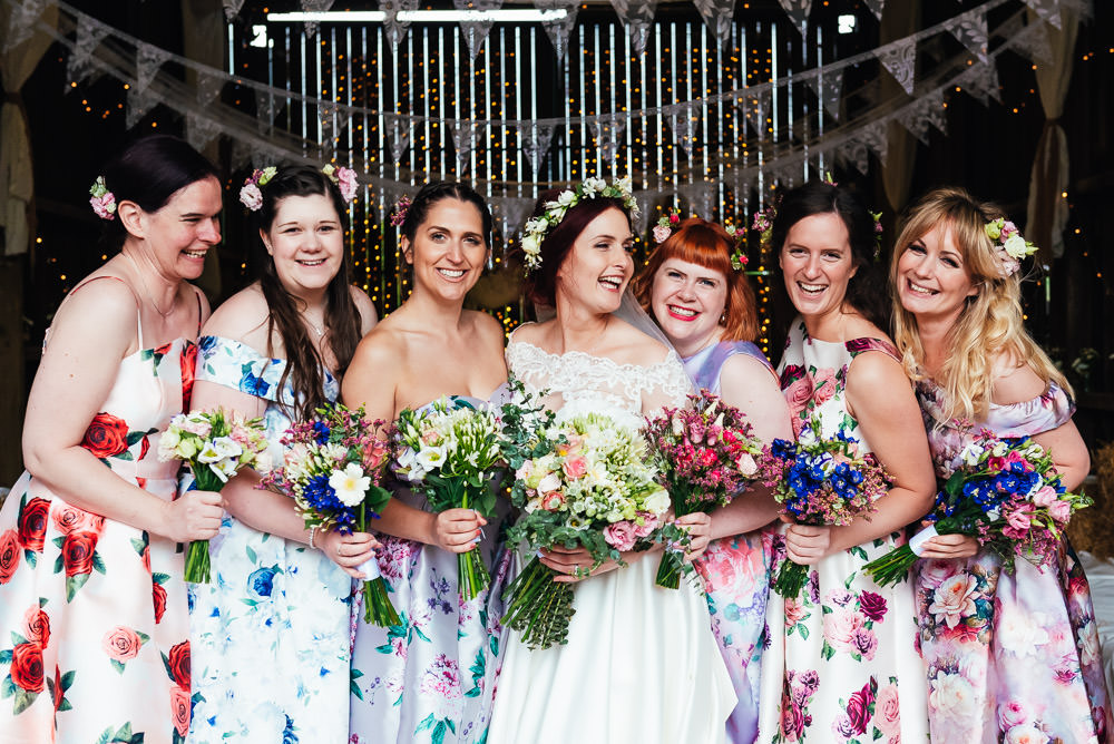 Bridesmaids Bridesmaid Dress Dresses Floral Dip Hem DIY Barn Wedding Jessica Grace Photography