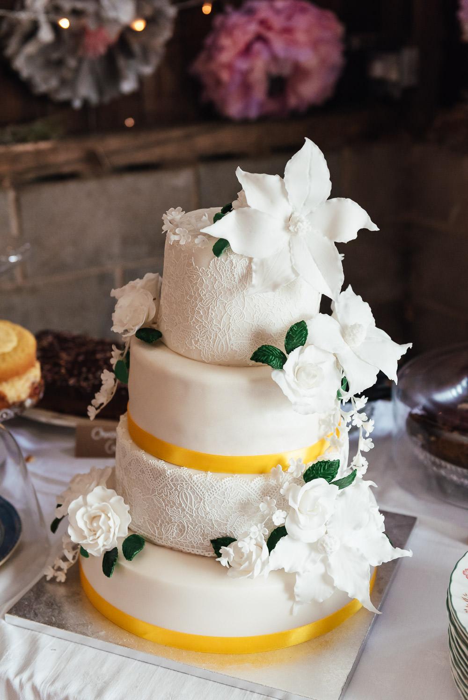 Iced Cake Flowers DIY Barn Wedding Jessica Grace Photography