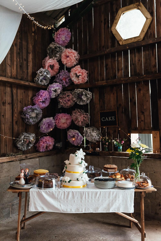 Cake Table Dessert Pom Poms DIY Barn Wedding Jessica Grace Photography