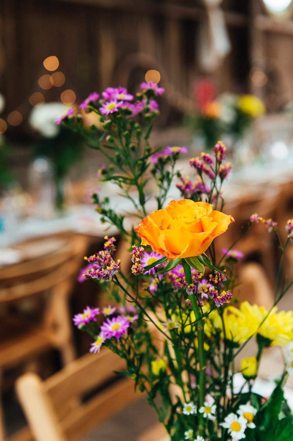 Table Flowers DIY Barn Wedding Jessica Grace Photography