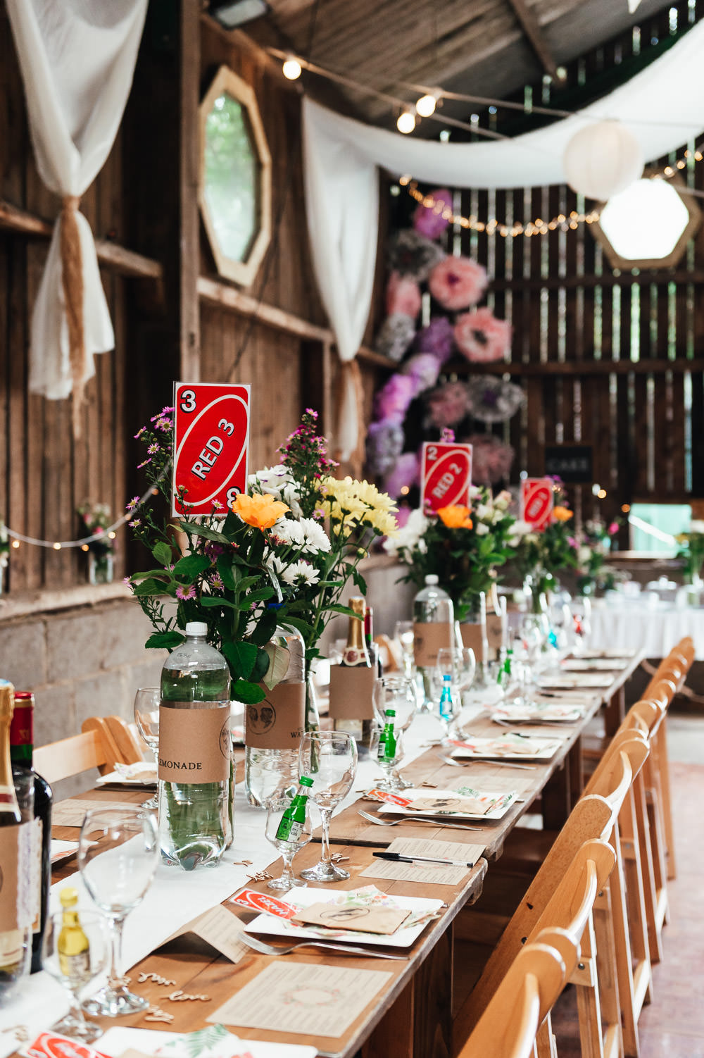 Long Tables Trestle Flowers Hessian Decor DIY Barn Wedding Jessica Grace Photography