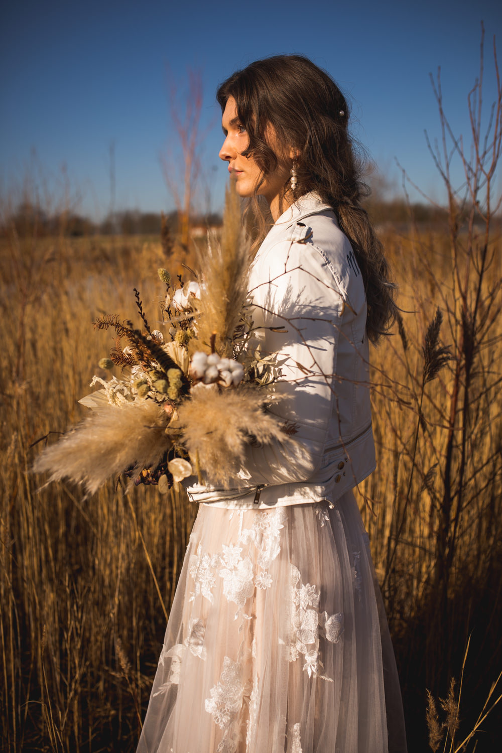 Bride Bridal Bouquet Flowers Pampas Grass Wheat Feather Dried Flower Wedding Ideas Dan Lambourne Photography