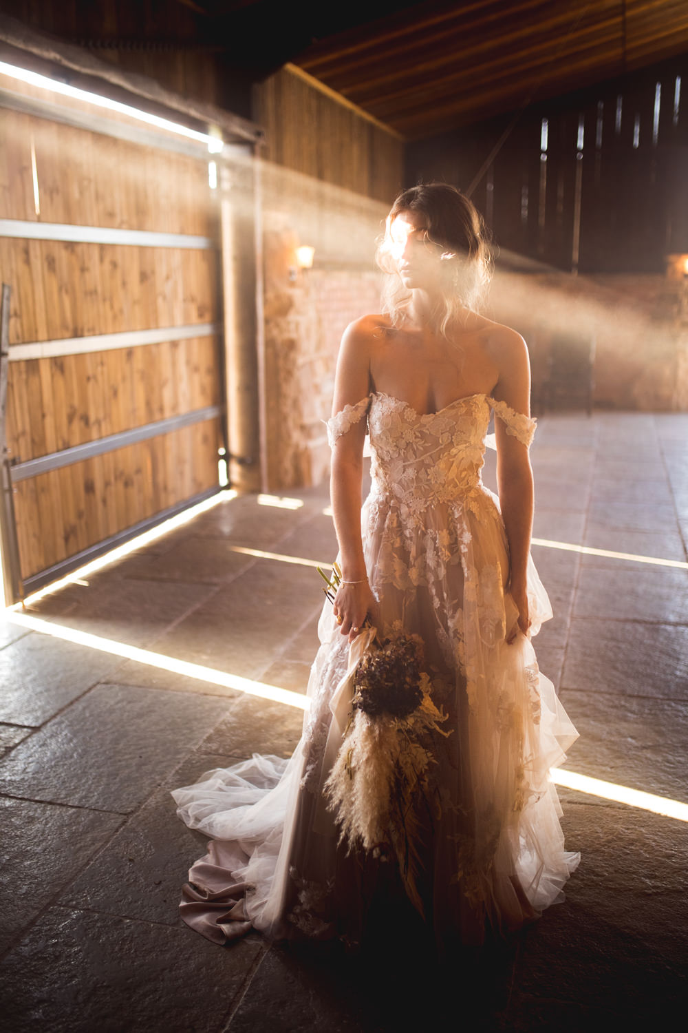 Dress Gown Bride Brdal Blush Lace Tulle Madi Lane Off Shouder Bardot Dried Flower Wedding Ideas Dan Lambourne Photography