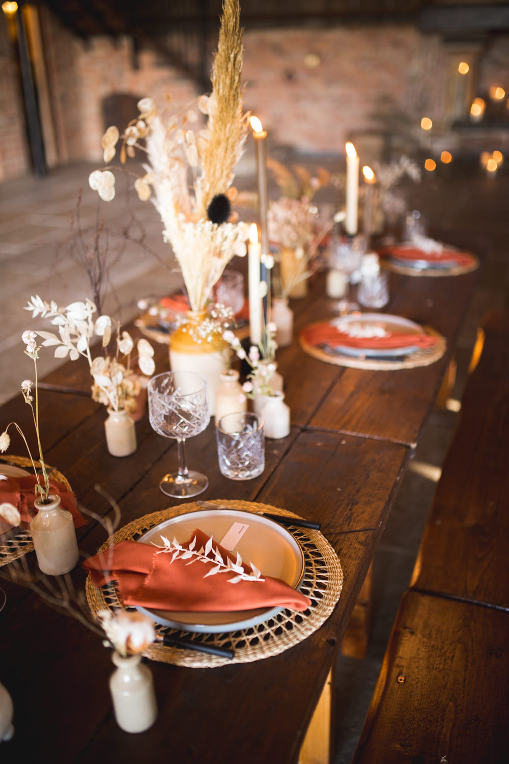 Table Decor Decorations Vases Flowers Candles Earthenware Ceramic Terracotta Napkins Dried Flower Wedding Ideas Dan Lambourne Photography