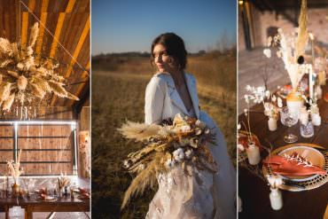 Dried Flower Wedding Ideas with Terracotta Tones & Pampas Grass