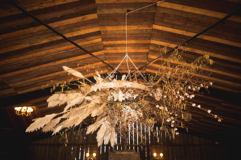 Barn Flower Installation Pampas Grass Wheat Hanging Suspended Dried Flower Wedding Ideas Dan Lambourne Photography