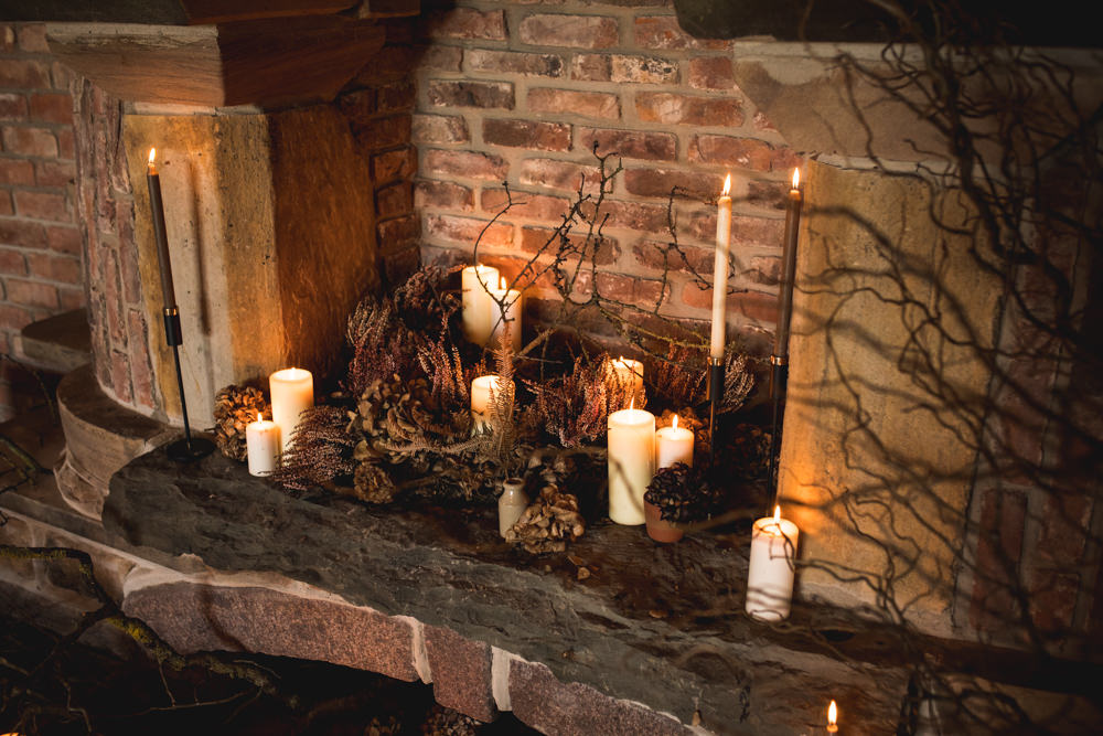 Fireplace Candles Dried Flower Wedding Ideas Dan Lambourne Photography