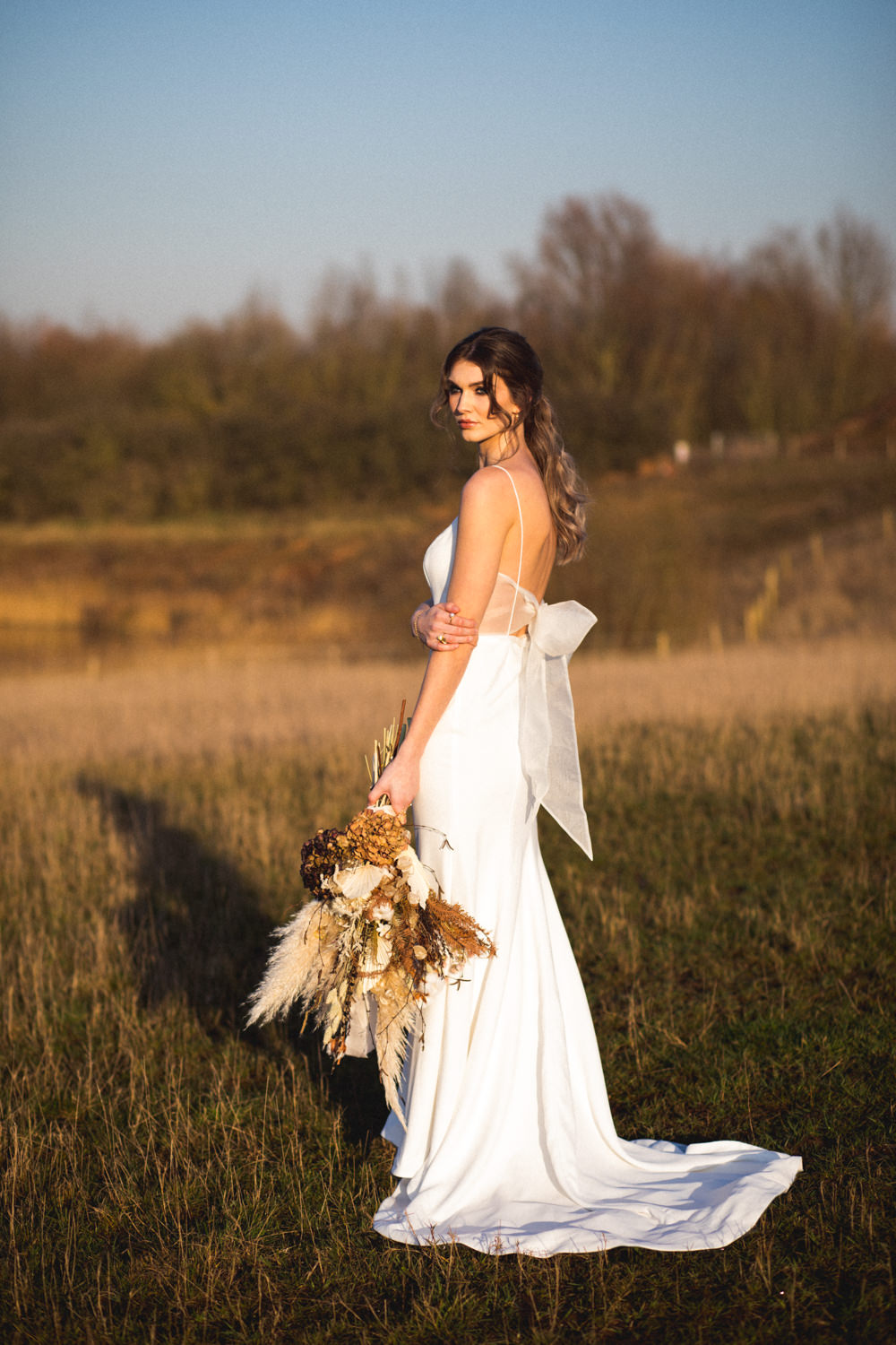 Dress Gown Bride Brdal Oui The Label Bow Back Straps Dried Flower Wedding Ideas Dan Lambourne Photography