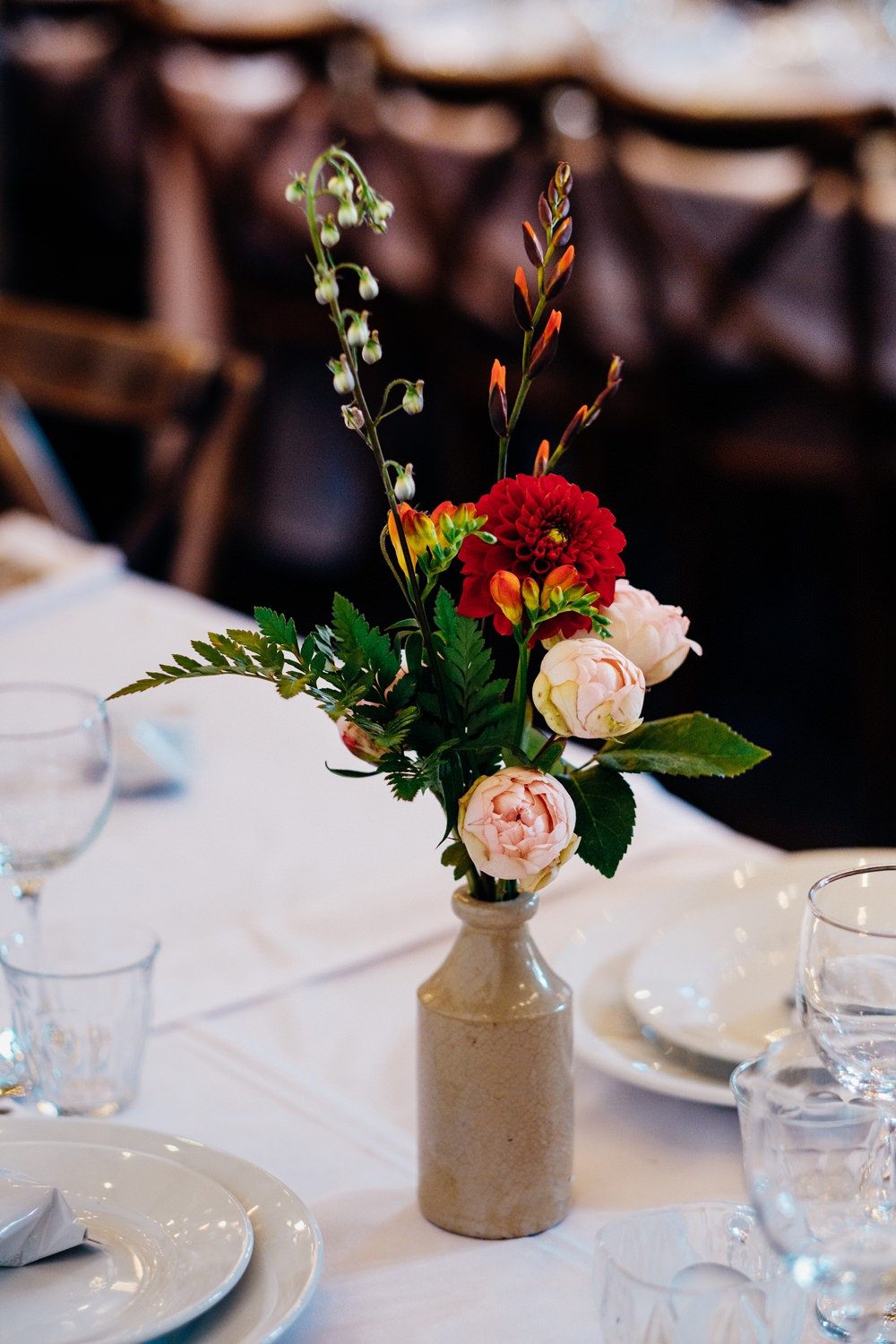 Table Flowers Centrepiece Decor Bottle Vases East London Wedding Marianne Chua Photography