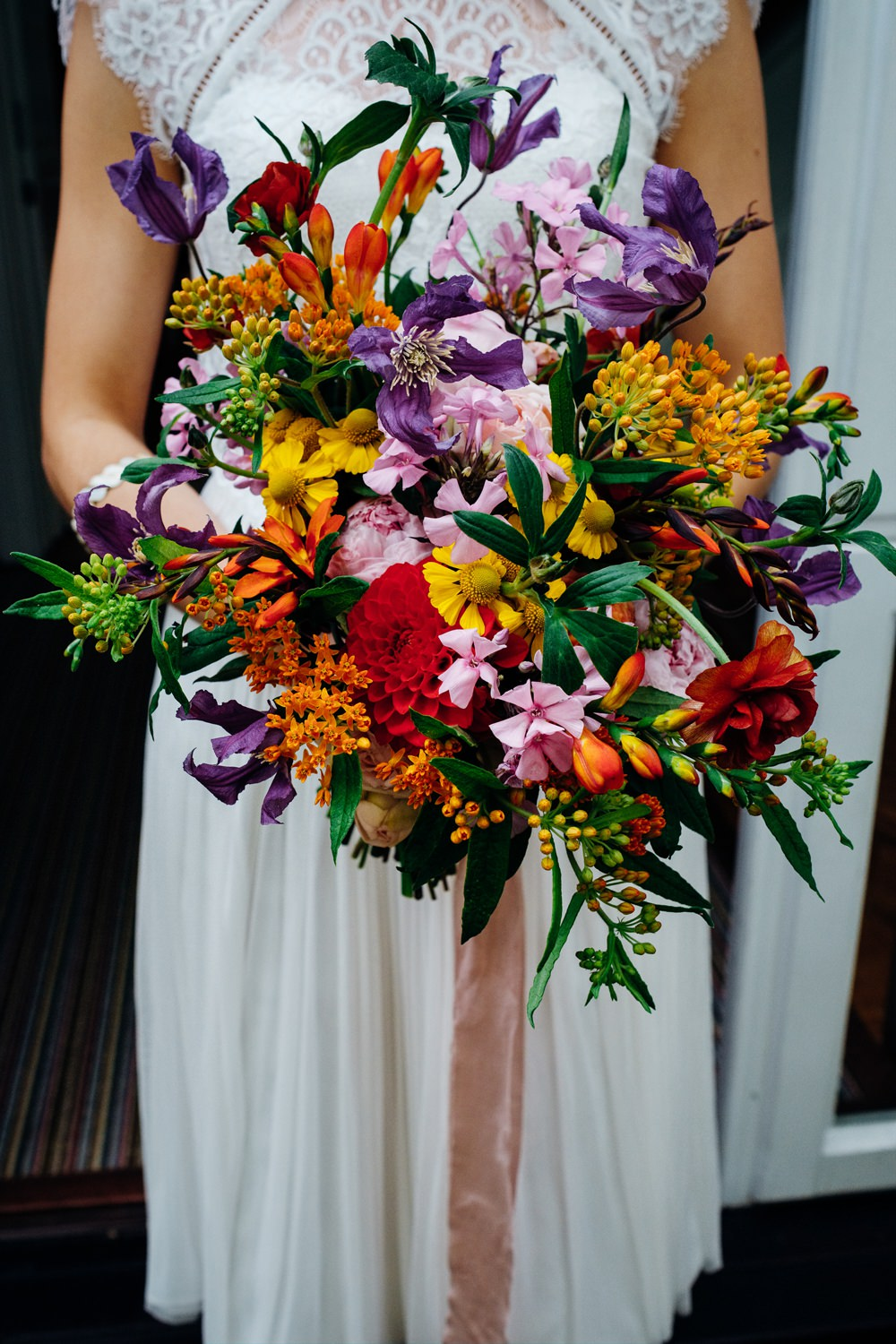 Bouquet Flowers Bride Bridal Colourful Seasonal Ribbons East London Wedding Marianne Chua Photography