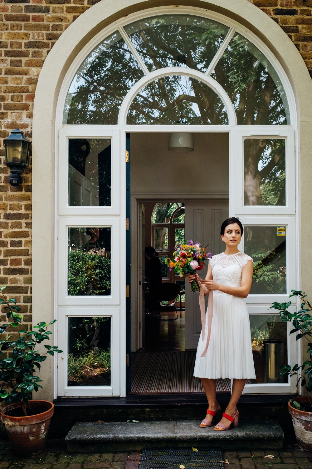 Bride Bridal Dress Gown Catherine Deane Top Skirt Lace Scallop Short East London Wedding Marianne Chua Photography